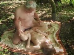 Dad and girl, Teen, Deepthroat, Swallow, Sex, Grandfather, Old and young, Vagina, Fucking, Outdoor, High definition, Lick, Petite, Blowjob