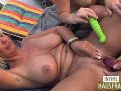 Intense rooftop sex makes the hot divas very wild