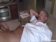 Kitchen, Old, Mature, Handjob, Milf, Old man