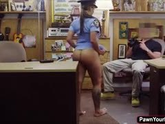 Uniform, Pretty, Boobs, Big tits, Doggystyle, Office, Brunette, Police, At work, Sex for cash, Fucking, Tits, Bent over, Blowjob